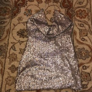 BACKLESS sequin mini dress never been worn cowl ne